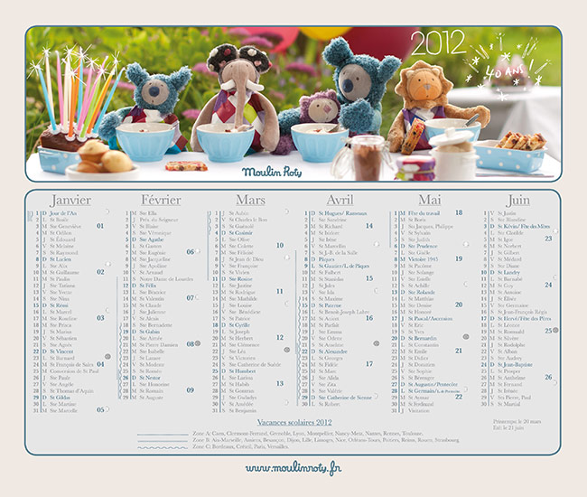 Calendrier Moulin Roty 2012